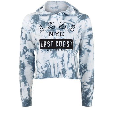 Teens Blue Tie Dye 1991 East Coast Print Hoodie | New Look