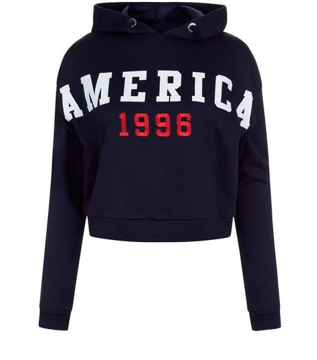 Teens Navy America 1996 Cropped Hoody | New Look