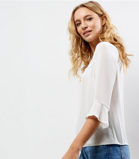 Petite Cream Bell Sleeve Top | New Look