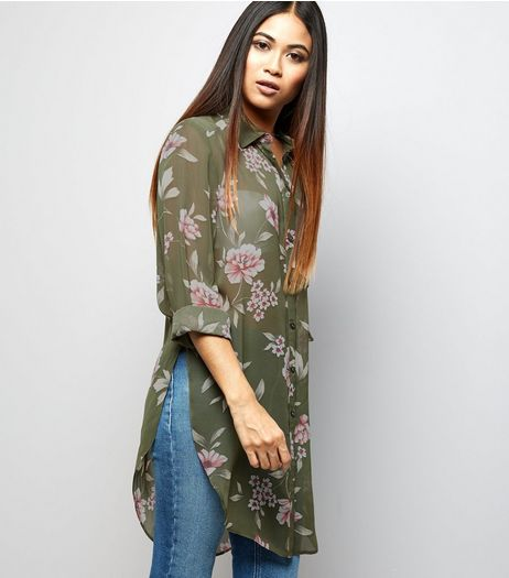 Petite Green Floral Chiffon Longline Shirt | New Look