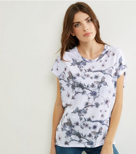Blue Butterfly Print Cocoon T-Shirt  | New Look
