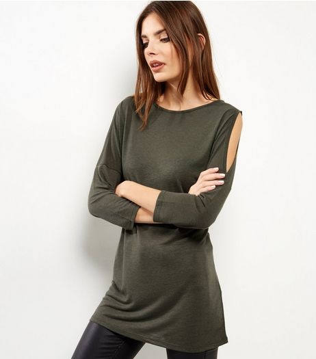 Olive Green Cold Shoulder 3/4 Sleeve Tunic  | New Look