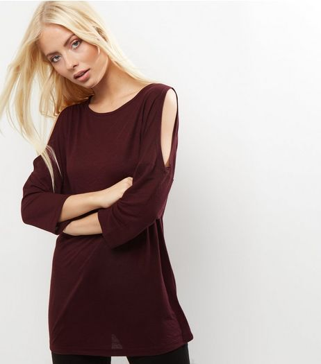 Burgundy Cold Shoulder 3/4 Sleeve Tunic  | New Look