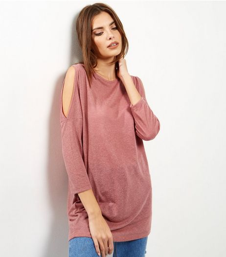 Pink Cold Shoulder 3/4 Sleeve Tunic  | New Look