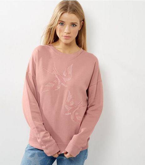 Pink Bird Embroidered Sweater | New Look