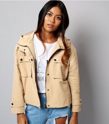 Petite Camel Cropped Anorak  | New Look