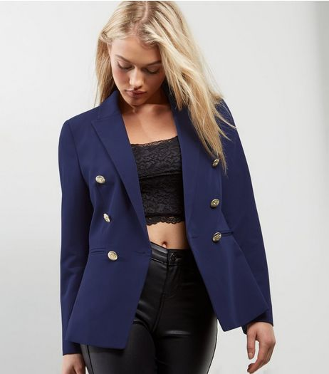 Navy Military Blazer  | New Look