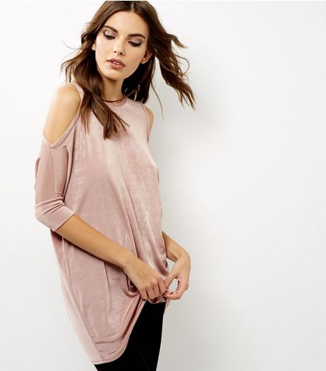 Mid Pink Metallic Cold Shoulder Longline Top  | New Look