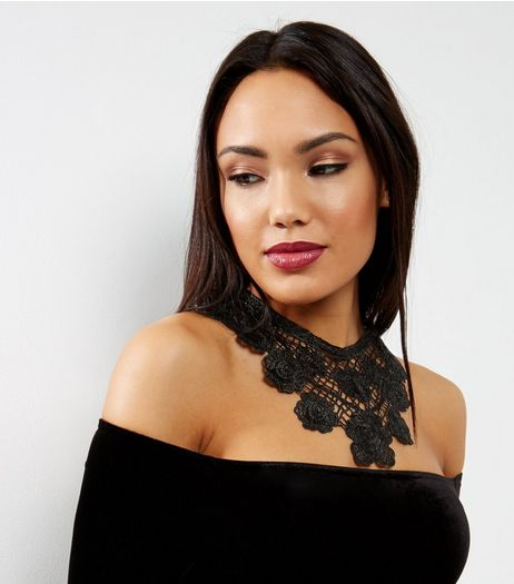 Black Lace Floral Bib Necklace | New Look