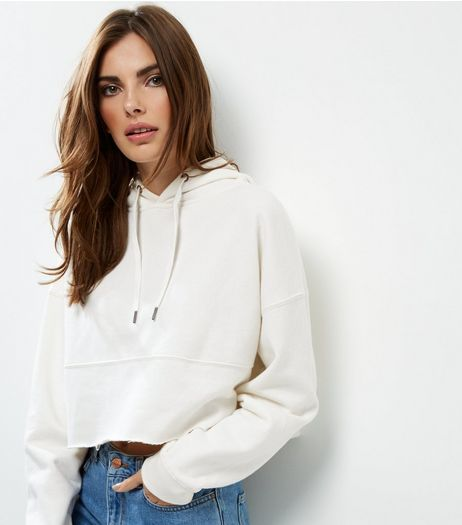 Cream Cropped Hoodie  | New Look