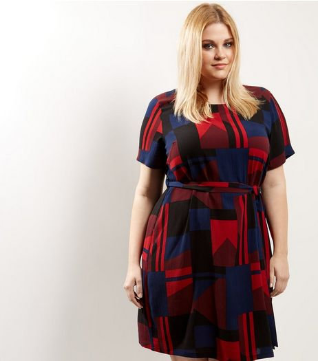 Curves Red Abstract Print Belted Tunic Dress | New Look