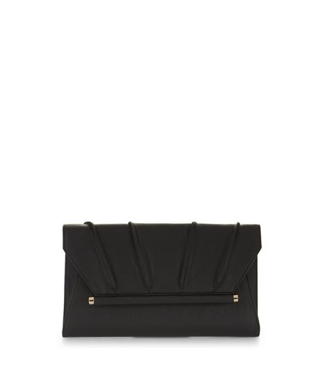 Black Pleated Clutch  | New Look