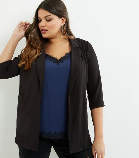 Curves Black Scuba Crepe Blazer | New Look