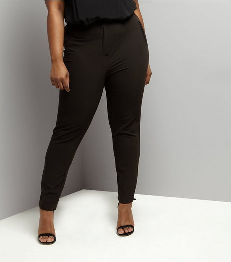 Curves Black Slim Leg Suit Trousers | New Look