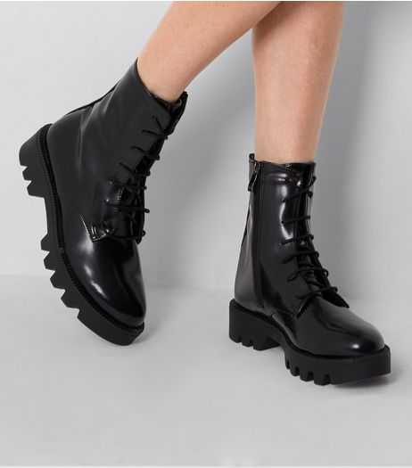 Black Patent Lace Up Chunky High Ankle Boots | New Look