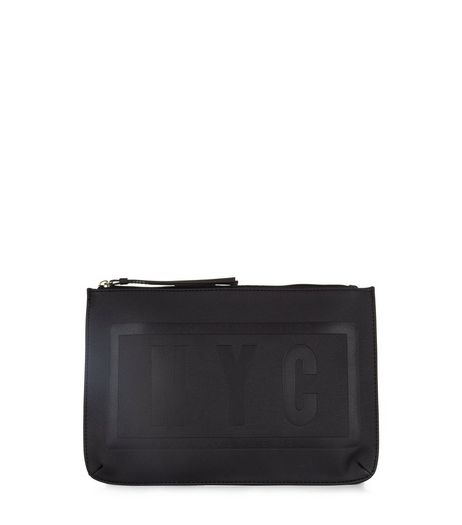 Black NYC Embossed Clutch | New Look