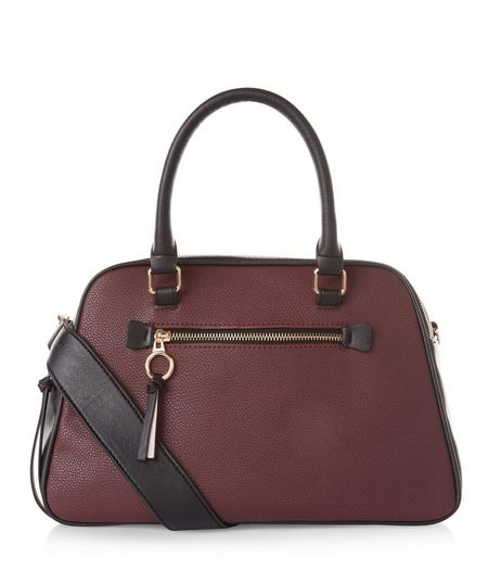 Burgundy Double Zip Top Bowler Bag | New Look