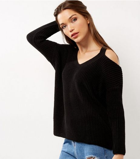 Black Ribbed V Neck Cold Shoulder | New Look