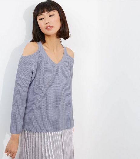 Lilac V Neck Cold Shoulder Jumper  | New Look