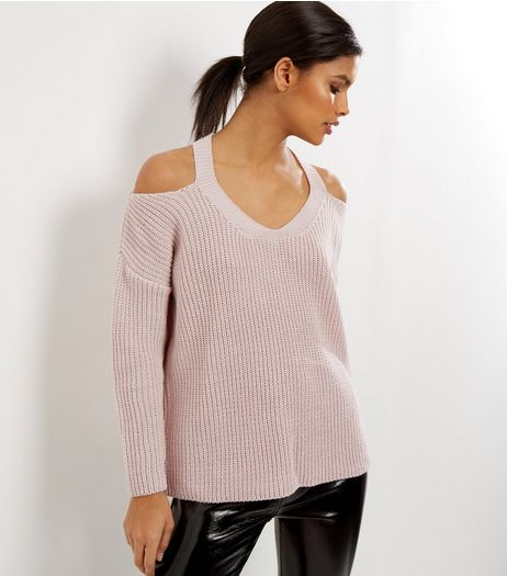 Mid Pink Knitted V Neck Cold Shoulder Jumper  | New Look