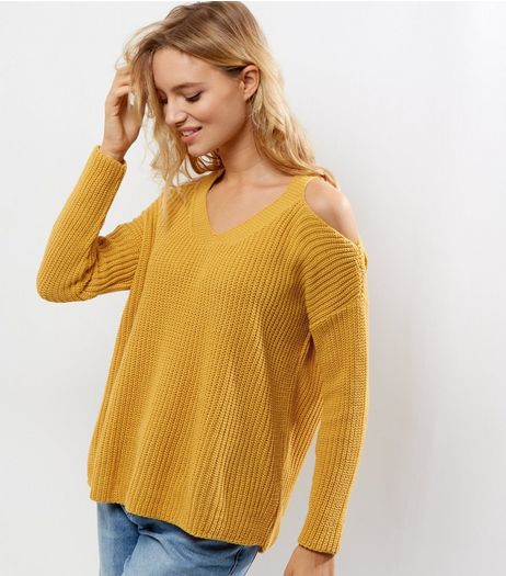 Yellow V Neck Cold Shoulder Jumper  | New Look
