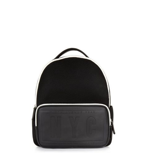 Black NYC Embossed Backpack | New Look
