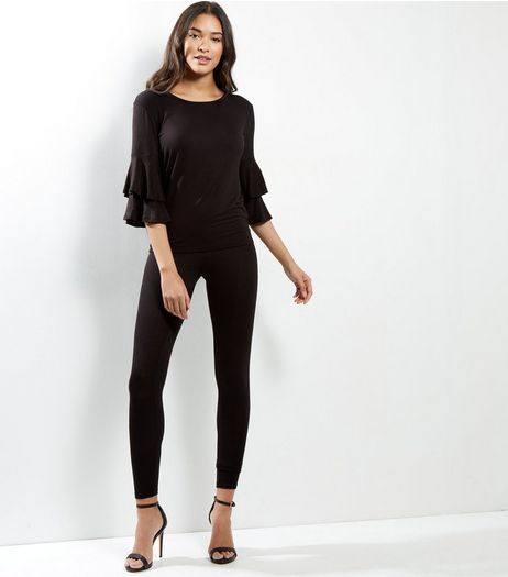 Black Frill Sleeve Lounge Set | New Look