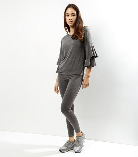 Dark Grey Frill Sleeve Lounge Set | New Look