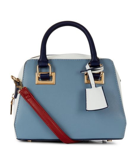 Blue Colour Block Mini Bowler Bag | New Look