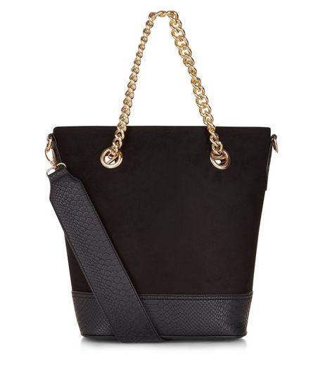 Black Suedette Bucket Bag | New Look