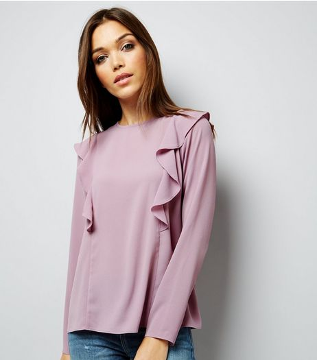 Lilac Frill Trim Long Sleeve Shirt | New Look