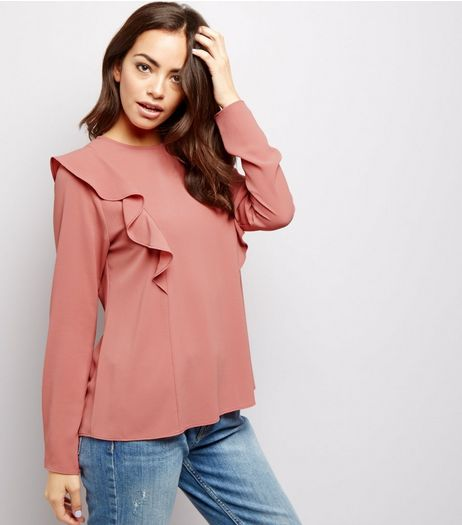 Mid Pink Frill Trim Long Sleeve Shirt | New Look