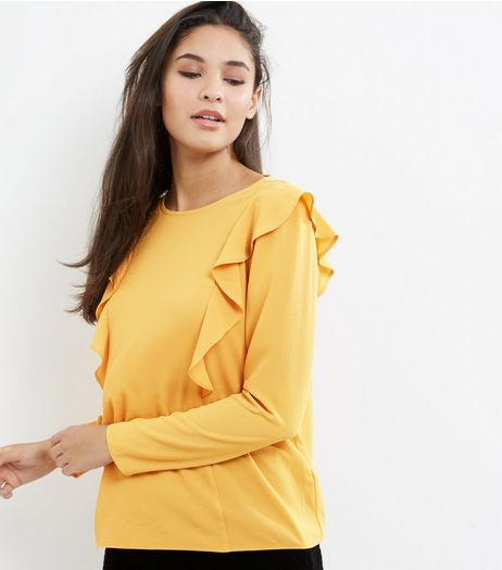Yellow Frill Trim Long Sleeve Shirt | New Look