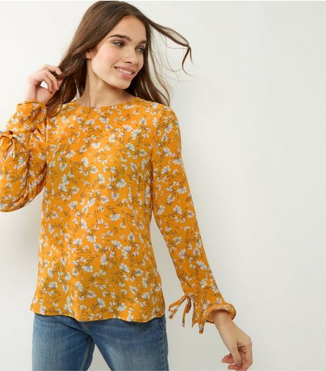 Yellow Floral Bell Sleeve Top | New Look