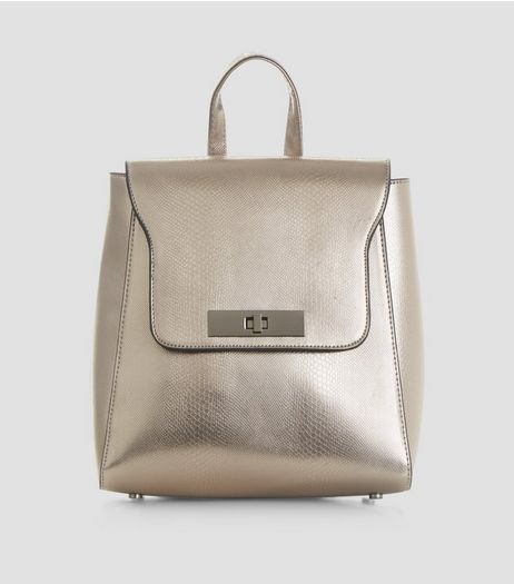 Silver Metallic Mini Backpack | New Look
