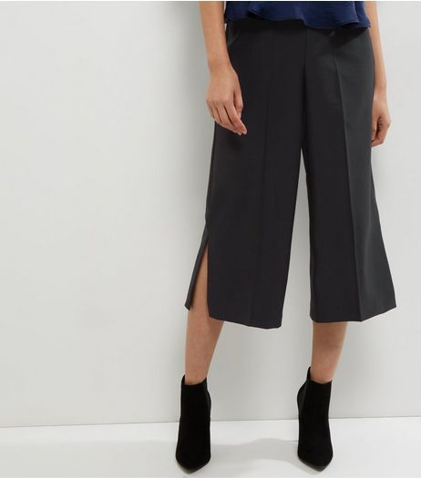 Black Split Side Culottes  | New Look