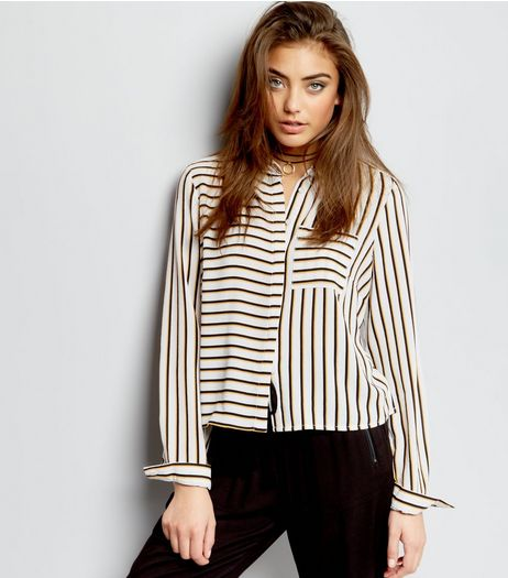 Yellow Stripe Print Cropped Shirt  | New Look