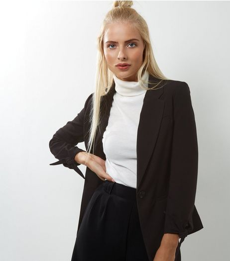 Black Tie Sleeve Blazer  | New Look