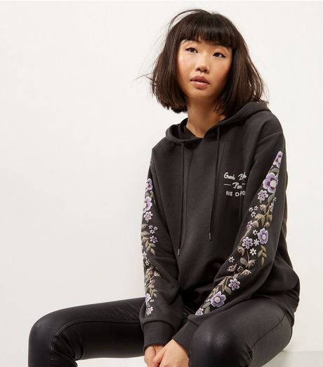 Dark Grey Floral Embroidered Sleeve Hoodie | New Look