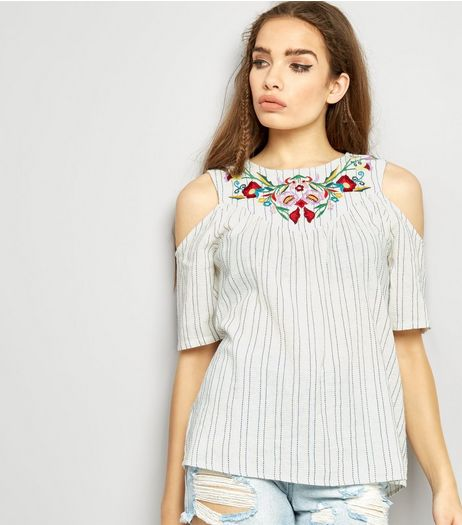 Cream Stripe Floral Embroidered Cold Shoulder Top | New Look