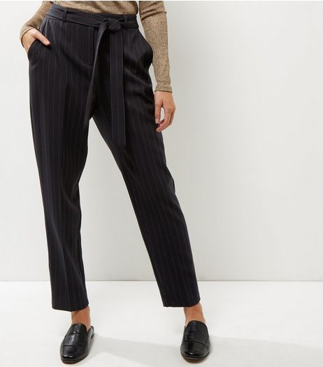 Navy Stripe Tie Waist Trousers  | New Look