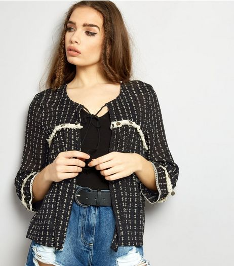 Brave Soul Black Patterned Fray Seam Open Front Blouse | New Look