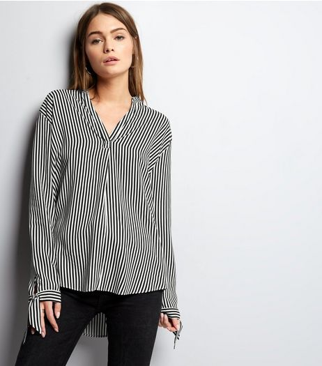 White Contrast Stripe Tie Sleeve Shirt | New Look