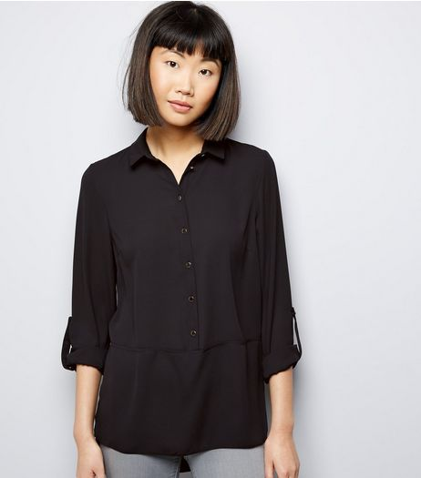 Black Half Button Front Shirt  | New Look