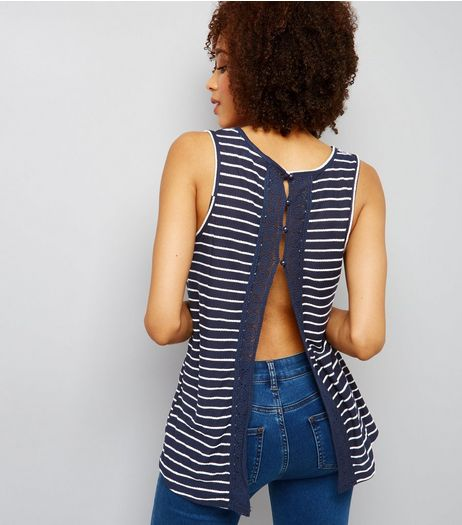 Blue Stripe Crochet Lace Trim Split Back Vest  | New Look