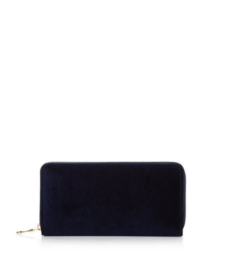 Navy Velvet Zip Around Purse | New Look
