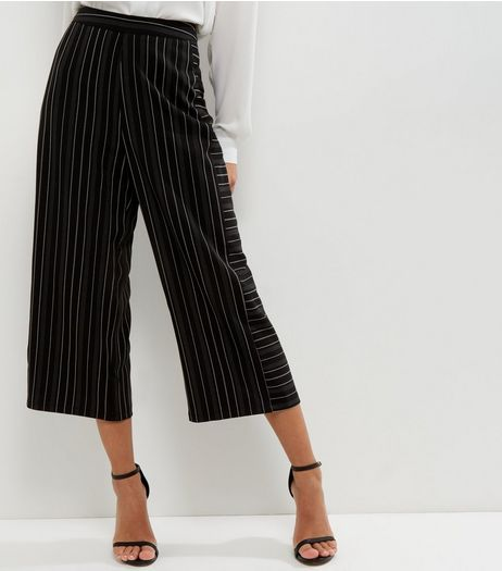 Black Contrast Stripe Culottes | New Look
