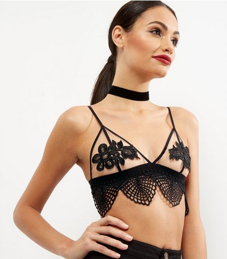Cameo Rose Black Floral Lace Trim Crop Top  | New Look