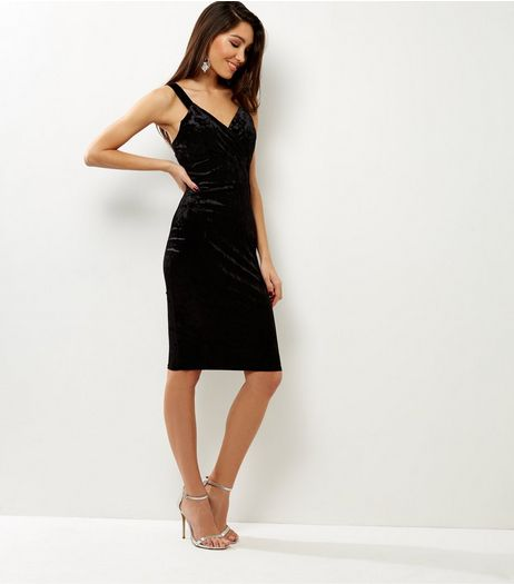 Cameo Rose Black Velvet Wrap Front Midi Dress | New Look