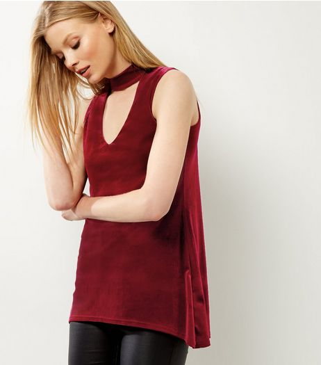 Cameo Rose Red Velvet Choker Neck Top | New Look